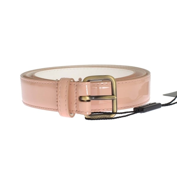 Dolce & Gabbana Pink Patent Leather Gold Belt