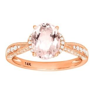 1 3/4 ct Natural Morganite & 1/4 ct Diamond Ring 14K Rose Gold - Pink Size 7