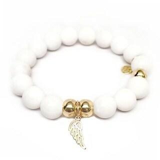 Julieta Jewelry Angel Wing Charm White Jade Bracelet