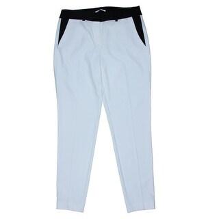 T Tahari Womens Marlena Crepe Contrast Trim Dress Pants - 10