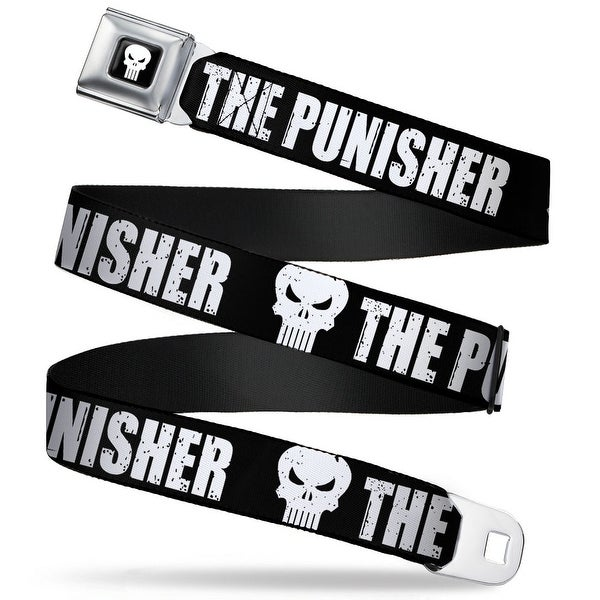 Marvel Universe Punisher Logo Full Color Black White The Punisher Bold W Seatbelt Belt