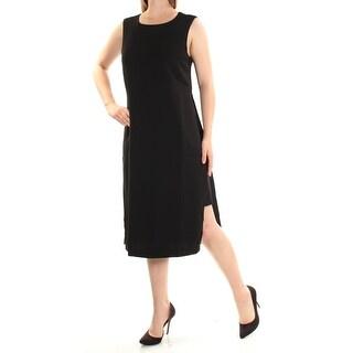 Womens Black Sleeveless Below The Knee Shift Dress Size: 10