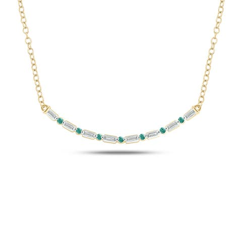 Cali Trove Celina Collection 14K Rose Gold 1/10ct TDW Baguette White Diamond Round Green Emerald Fashion Necklace