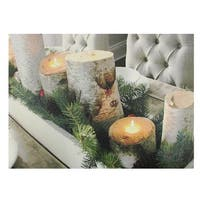 "LED Lighted Flickering Rustic Lodge Woodland Birch Candles Christmas Canvas Wall Art 11.75"" x 15.75"""