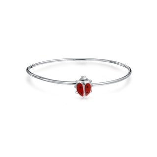 Link to Dainty Ladybug Red Small Bangle Charm Bangle Bracelet Sterling Silver Similar Items in Children's Jewelry