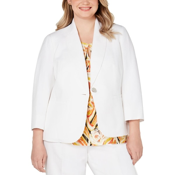 Kasper Womens Plus One-Button Blazer Linen Blend Suit Separate