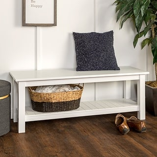 Offex 50'' Country Style Solid Wood Entry Bench with Slatted Shelf - White
