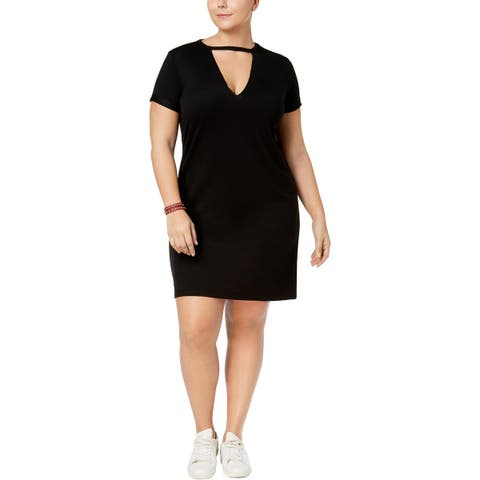 Derek Heart Womens Plus T-Shirt Dress Short Sleeves Cut-Out