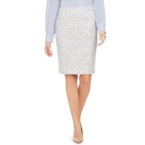 Calvin Klein Womens Petites Pencil Skirt Tweed Woven - White/Tan/Blue