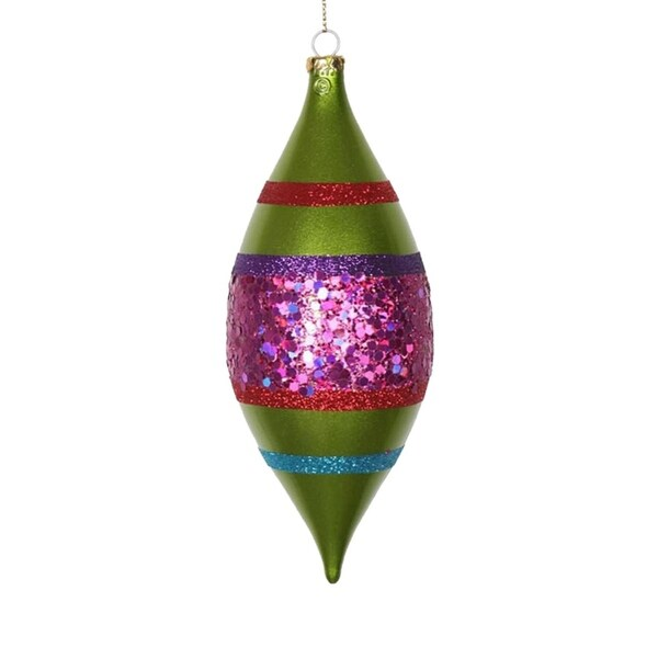4ct Lime Green and Cerise Pink Shatterproof Christmas Glitter Finial Drop Ornaments 7""