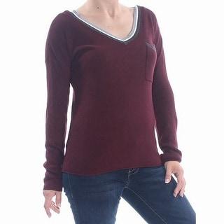 Hippie Rose Sweater Burgundy Red Size Small S Junior Striped Trim V-Neck