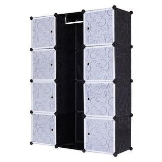 Costway DIY 12 Cube Portable Closet Storage Organizer Clothes Wardrobe Cabinet W/Doors - as pic