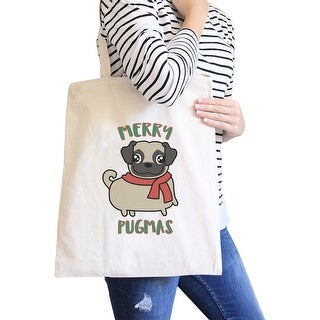 Merry Pugmas Pug Lover Gift Natural Canvas Tote Washable Foldable