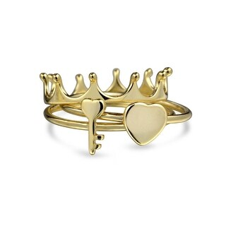 Bling Jewelry Princess Crown Heart Key Midi Ring Set Gold Plated Silver