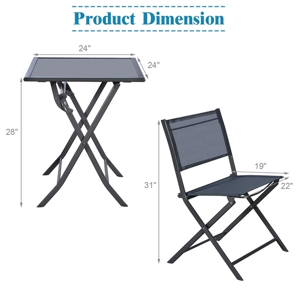 Costway 3PCS Bistro Set Garden Backyard Table Chairs Outdoor Patio