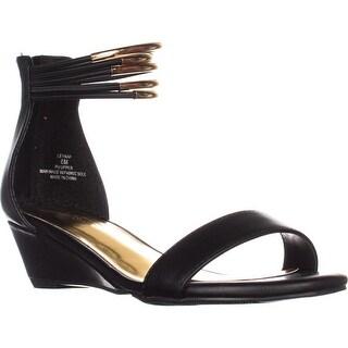TS35 Leyna Ankle-Cuff Wedge Dress Sandals, Black