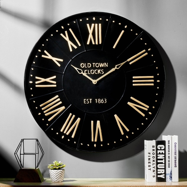 Glitzhome Modern Farmhouse Metal Enamel Wall Clock. Opens flyout.