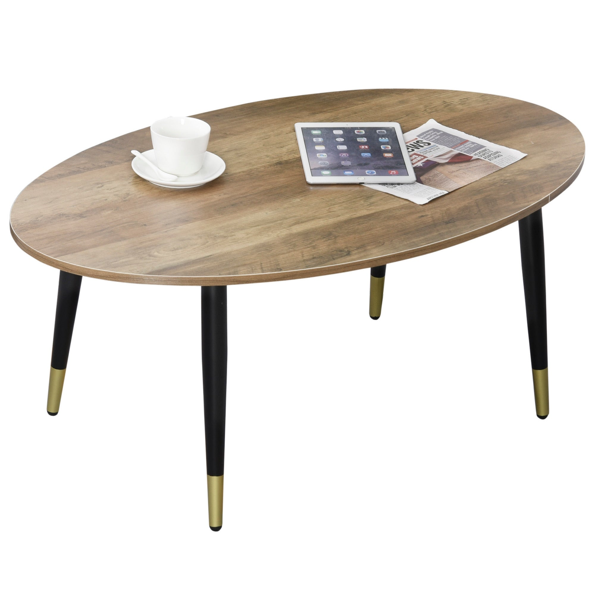 Picture of: Homcom Oval Modern Simple Coffee Table With Strong Metal Legs Quality Build Material Multifunctional Design Brown On Sale Overstock 31977936