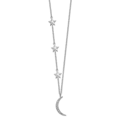 Sterling Silver Rhodium-plated Cubic Zirconia Stars and Moon with 2-inch Extension Necklace by Versil