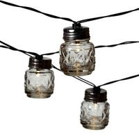 Set of 2 Gray Vintage Faceted Texture Jars LED String Light 2""