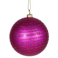 "Cerise Pink Glitter Striped Shatterproof Christmas Ball Ornament 3"" (75mm)"