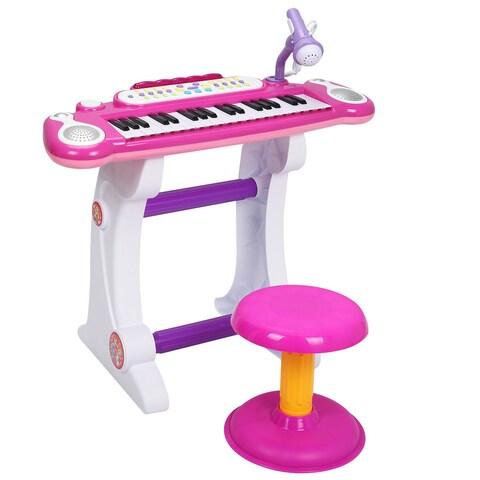Gymax 37 Key Kids Electronic Keyboard Mini Piano Microphone And Stool Pink