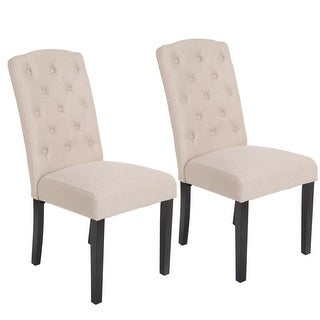 Costway Set Of 2 Accent Dining Chair Fabric Wood Tufted Modern Living Room Furniture