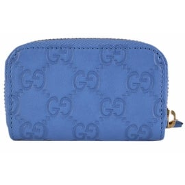 Gucci 324801 Blue Leather GG Guccissima Mini Zip Around Coin Purse
