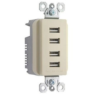 Pass And Seymour Quad Usb Charger, Ivory