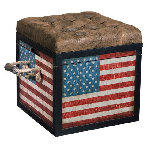 Banner American Flag Leather Seat Storage Ottoman