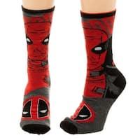 Marvel Deadpool Reversible Men's Crew Socks - Red