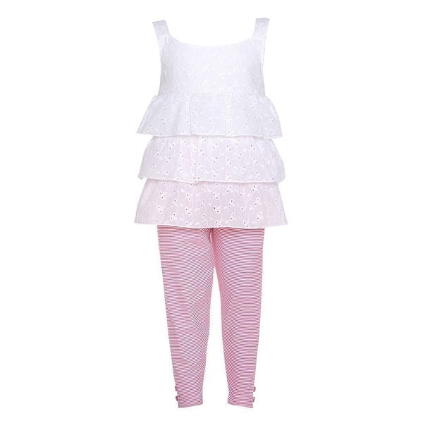 Girls 12M White Eyelet Lace Top Pink Stripe Capri 2pc Spring Outfit