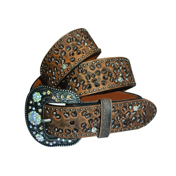 Roper Western Belt Womens Cutout Floral Antiqued Brown