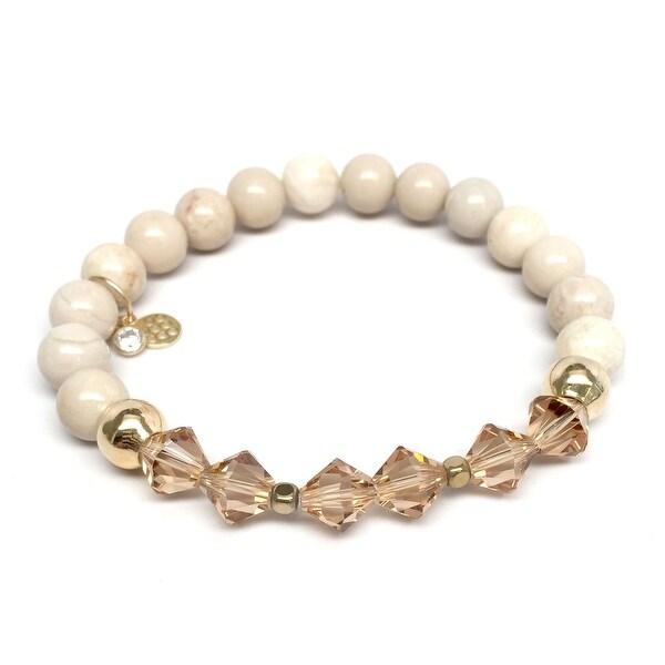 """Ivory Jade & Crystal Chloe 7"""" Bracelet"""