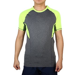 Adult Men Short Sleeve Apparel Stretchy Training Sports T-shirt Green S