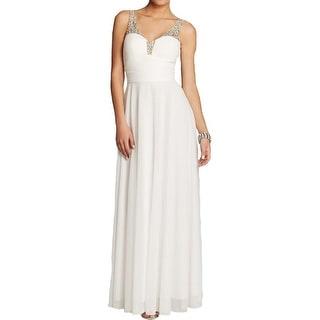 Aqua Womens Evening Dress Embellished Pleated