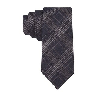 Calvin Klein CK Mens Flannel Plaid Slim Neck Tie Charcoal - One Size Fits most