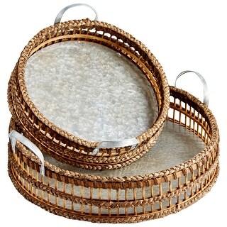 Cyan Design 09845  Huntington 2 Piece Bamboo and Metal Tray Set - Galvanized / Rustic Weave