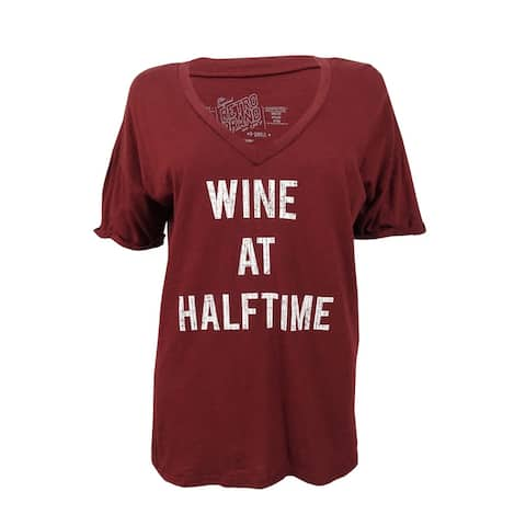 Retro Brand Women's Game Day 'Wine at Halftime' Graphic T-Shirt (XS, Burgundy) - Burgundy - XS