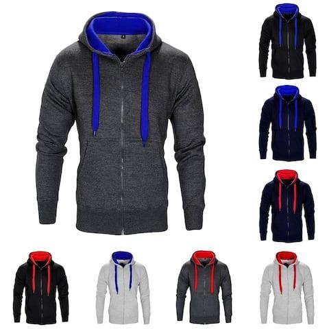Men's Casual Stand-up Collar Long Sleeve Plush Hoodie Top Full-zip Sweatshirt