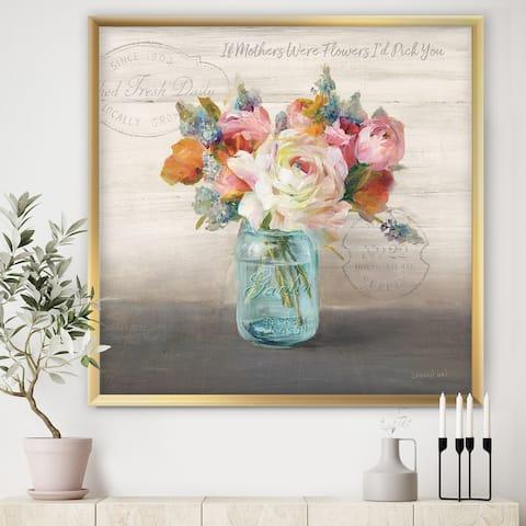 Designart 'French Cottage Bouquet II Mothers' Cottage Framed Art Print