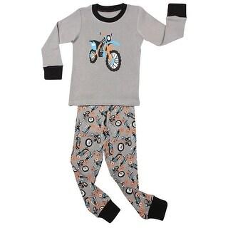 Elowel Little Boys Gray Motocycle Print Cotton 2 Pc Pajama Set