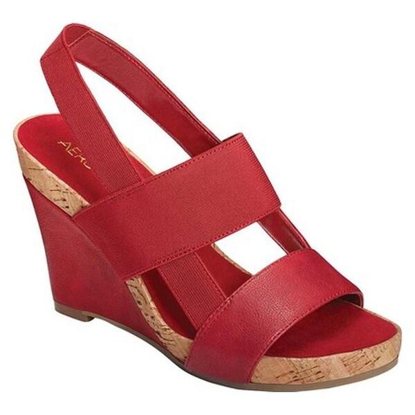 8821061fe7bd Aerosoles Women  x27 s Magnolia Plush Slingback Sandal Red Faux  Leather Elastic
