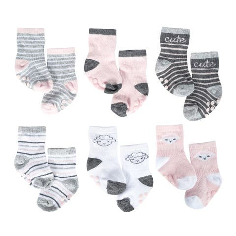 Just Born® Baby Girls' 6-Pack Lil' Lamb Wiggle Proof Socks - Pink/Gray