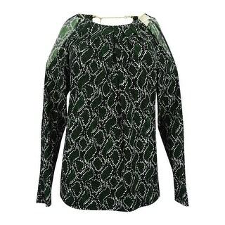 MICHAEL Michael Kors Women's Cold-Shoulder Snakeskin-Print Top (XS, Moss/Cream) - moss/cream - xs
