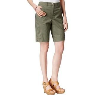 Karen Scott Womens Bermuda, Walking Shorts Flat Front Patch Pockets - 18