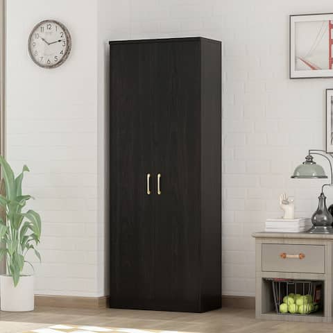 4-Tier Amoires Wardrobe Cabinet With 2 Doors In Black