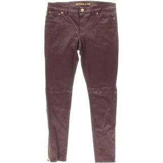 MICHAEL Michael Kors Womens DNM Ankle Zip Skinny Leather Pants Skinny 5 Pocket