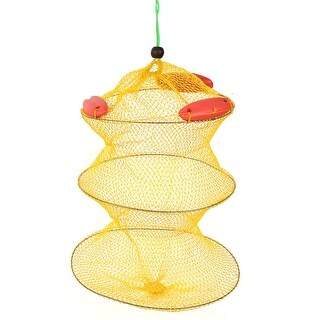 Unique Bargains 0.4 x 0.4 Nylon Portable Fishing Landing Net Fish Angler Mesh Keepnet Crawfish Shrimp Yellow Red