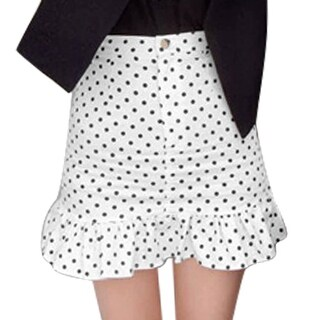 Ladies Mid Rise Dots Prints Button Closed Zip Fly Ruffles Hem Skirts - WHITE - S
